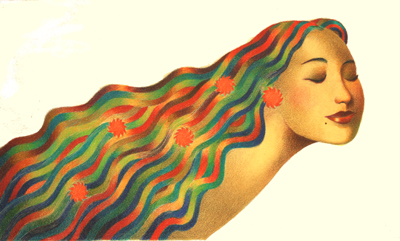 WOMAN W/ RAINBOW HAIR, RAUL COLON