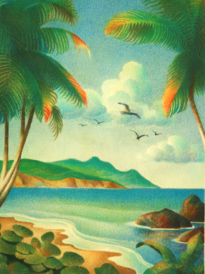RAUL COLON - TROPICAL LANDSCAPE - WATERCOLOR & PENCIL - 11 X 15