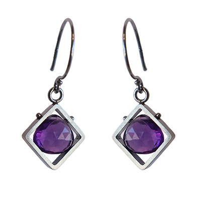 DIAGONAL CAGED AMETHYST EARRINGS, ASHKA DYMEL