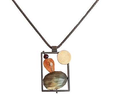 RECTANGLE W/ LABRADORITE, CITRINE & GARNET NECKLACE, ASHKA DYMEL