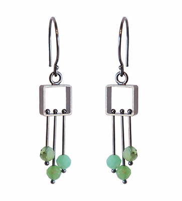 SM SQUARE WITH CHRYSOPRASE FRINGE EARRINGS, ASHKA DYMEL