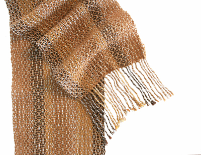SCARF - LENO BROWN/TAN, DEANNA DEEDS