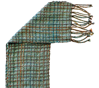 HANDSPUN TEAL WINDOW SCARF, DEANNA DEEDS