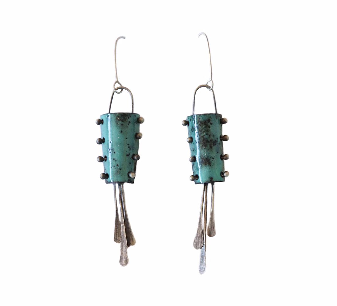 KIRSTEN DENBOW - LT BLUE BUCKET EARRINGS - COPPER & ENAMEL