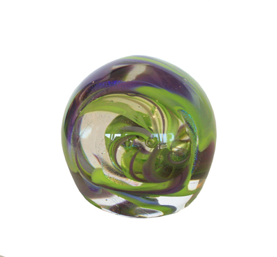 LIME AND PURPLE PAPERWEIGHT, DAVID VAN NOPPEN