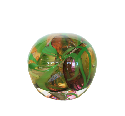 GREEN AND DICHROIC PAPERWEIGHT, DAVID VAN NOPPEN