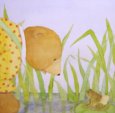 BEAR & FROG ON LILY PAD, JANE DYER