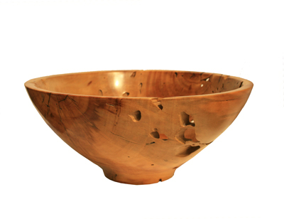 LARGE FERN PINE TERMITE WOOD BOWL, MICHAEL EVANS