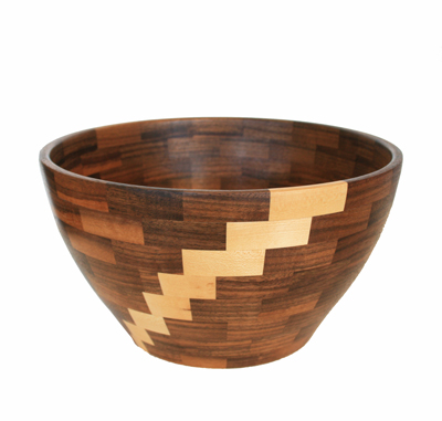 MEDIUM WALNUT & MAPLE SEGMENTED BOWL, MICHAEL EVANS