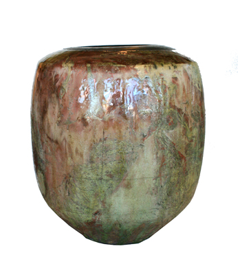 LARGE BURGANDY & GREEN VESSEL, DALE FERGUSON