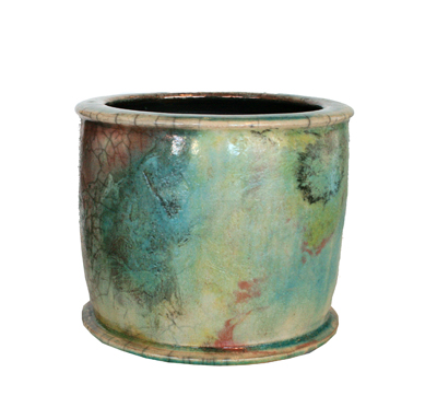 SMALL TURQUOISE & CREAM POT, DALE FERGUSON