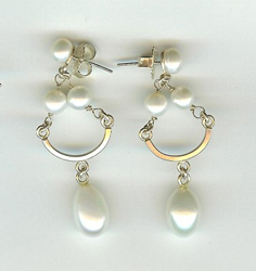 CHANDELIER EARRINGS, SILVER, FRESHWATER PEARLS, BILL GALLAGHER