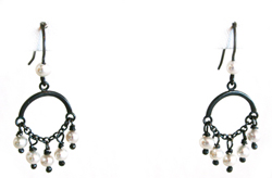 EARRINGS, CHANDELIER #18, 12 WHITE FW PEARLS, BLACK SILVER, BILL GALLAGHER