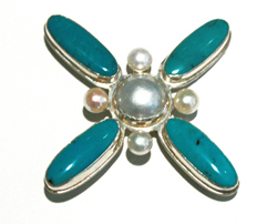 TURQUOISE PENDANT/BROOCH, BILL GALLAGHER
