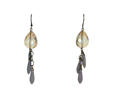 EARRING CHAMPAGNE CRYSTAL W/ LILAC LEAVES, HARLOW