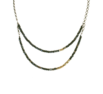 2-LAYER MIDNIGHT JUNIPER CRYSTAL NECKLACE WITH BRASS ACCENTS NECKLACE, HARLOW