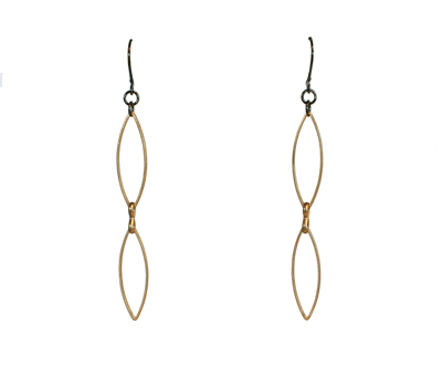 2 GOLD MARQUISE EARRINGS, HARLOW