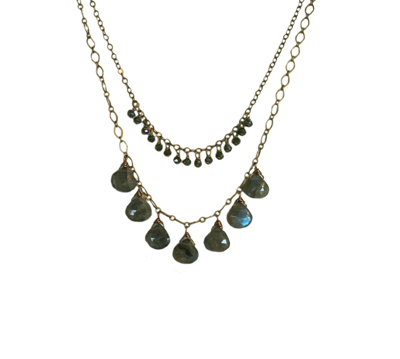 LAYERED NECKLACE WITH 7 LABRADORITE DROPS AND CRYSTALS, HARLOW