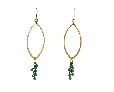 LARGE GOLD MARQUISE EARRINGS W/ OCEAN GREEN CRYSTALS, HARLOW