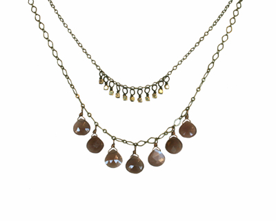 DOUBLE LAYER BLUSH MOONSTONE & BRASS NECKLACE, HARLOW