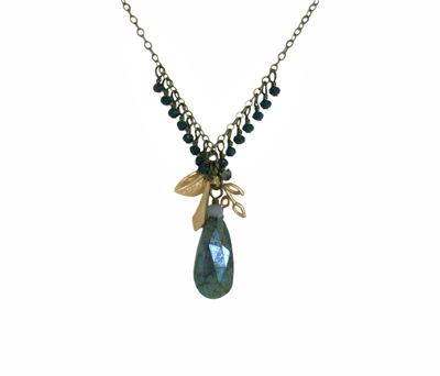 CLUSTER NECKLACE W/ CRYSOCOLLA & DEEP BLUE CRYSTALS, HARLOW
