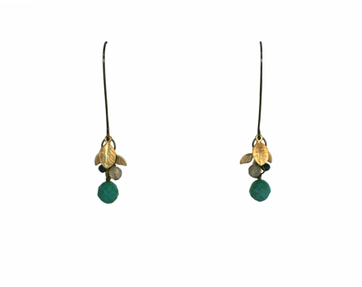 TURQUOISE & GOLD LEAF CLUSTER EARRINGS, HARLOW
