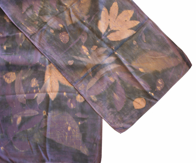 DARK PURPLE AND BLACK SILK CHARMEUSE SCARF WITH LEAVES, AYN HANNA