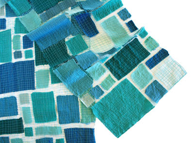 SEAGLASS MOSAIC - BLUES AND TEALS BLOCKS, MARY HAMMOND