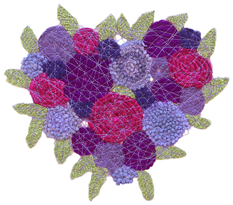 FIBER PURPLE PASSION FLORAL HEART, MARY HAMMOND