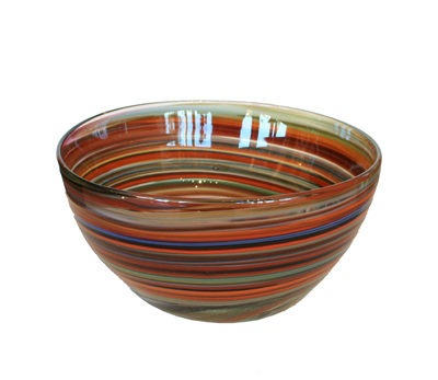 CRAYON BOWL - TEAL, ORANGE, BURGUNDY, HOKANSON DIX