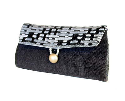 BLACK, WHITE, GREY WOVEN STATEMENT CLUTCH, SUSAN HORTON