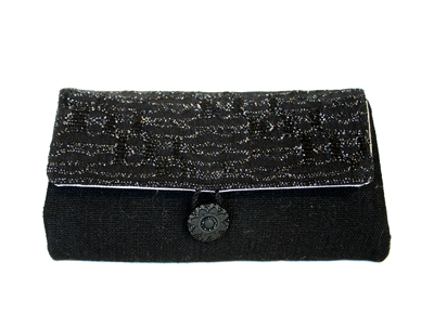 BLACK & SILVER WOVEN STATEMENT CLUTCH, SUSAN HORTON