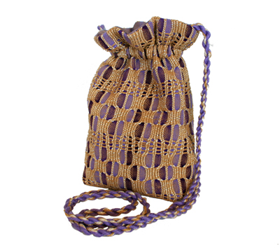 EVENING BAG WITH LONG STRAP LIGHT/DARK PURPLE WITH GOLD ACCENT, SUSAN HORTON