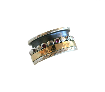 SILVER RING WITH GOLD AND RUBY SPINNERS, ITHIL METALWORKS