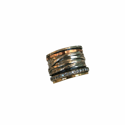 SILVER SPINNER RING WITH ROSE GOLD, YELLOW GOLD AND CZS, ITHIL METALWORKS