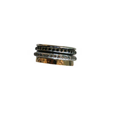 GOLD SILVER SPINNER RING WITH CZS AND BLACK DIAMONDS, ITHIL METALWORKS