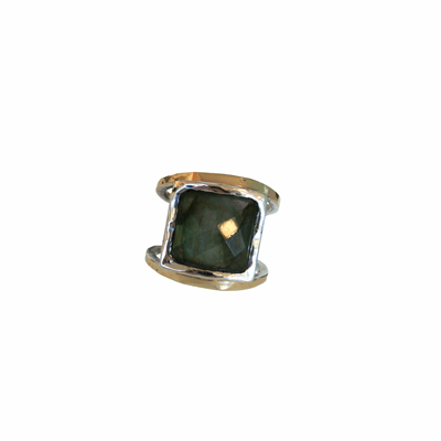 GOLD AND SILVER RING WITH LABRADORITE, ITHIL METALWORKS