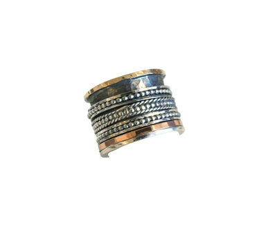 WIDE MULTI-TEXTURED SPINNER RING, ROSE GOLD, YELLOW GOLD, SILVER, ITHIL METALWORKS