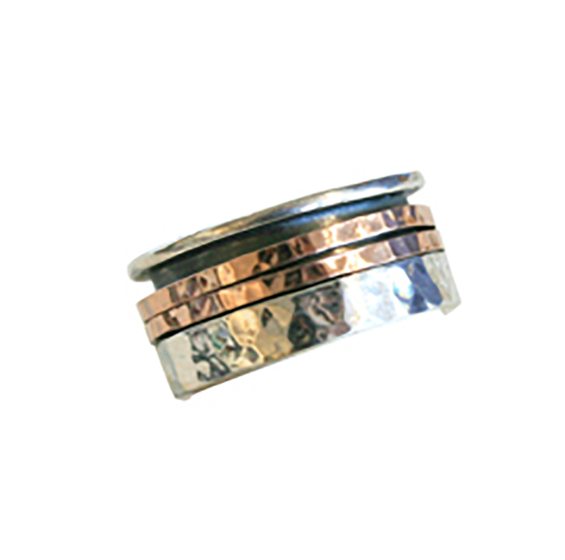 DOUBLE TEXTURED ROSE GOLD SPINNER RING, SILVER & OXI SHANK, ITHIL METALWORKS
