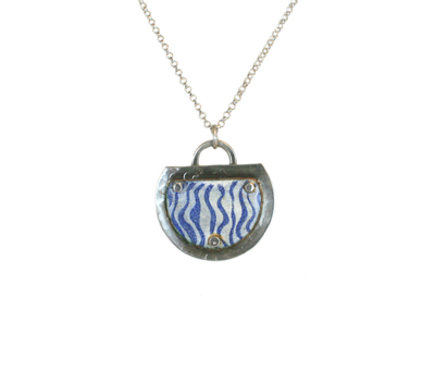 STRIPED BLUE ENAMEL PENDANT NECKLACE, JOANNA CRAFT