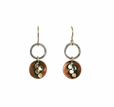 COPPER CIRCLE EARRINGS WITH SILVER DOTS, JOANNA CRAFT