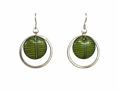 BLACK STRIPED GREEN ENAMEL CIRCLE WITH OPEN SILVER CIRCLE EARRINGS, JOANNA CRAFT
