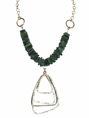 LARGE OPEN SILVER TRAINGLES WITH KYANITE NECKLACE, JOANNA CRAFT