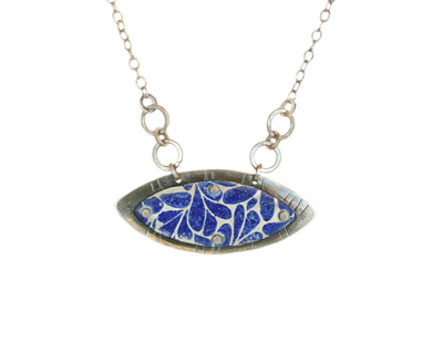 OBLONG MARQUIS BLUE & CREAM ENAMEL NECKLACE, JOANNA CRAFT