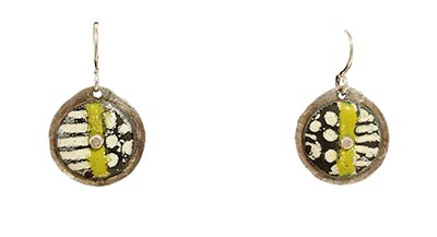 WHITE, GREEN, BLACK PATTERNED CIRCLE EARRINGS, JOANNA CRAFT