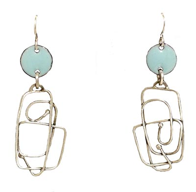 SILVER RECTANGLE EARRINGS WITH TEAL CIRCLES, JOANNA CRAFT