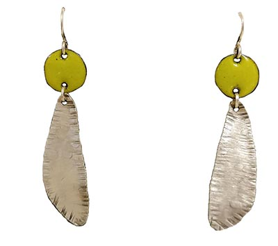 SILVER EARRINGS WITH LIME GREEN CIRCLES, JOANNA CRAFT