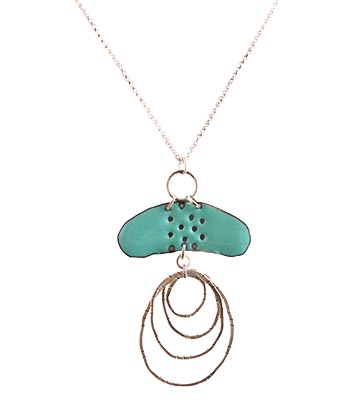 TURQUOISE ENAMEL & SILVER NECKLACE, JOANNA CRAFT