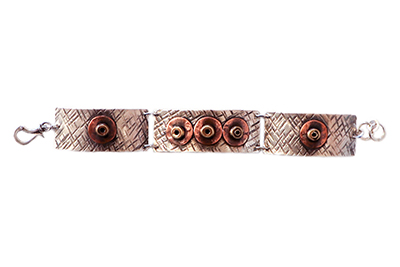 TRIPLE PLATE BRACELET WITH COPPER & SILVER DETAIL, JOANNA CRAFT