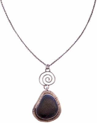 BEACH STONE NECKLACE WITH SWIRLING SILVER CHARM, JOANNA CRAFT